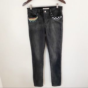 Levi's Gray 311 Shaping Skinny Hand Painted jeans